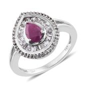 Burmese Ruby, White Topaz Platinum Over Sterling Silver Ring (Size 6.0) TGW 2.51 cts.