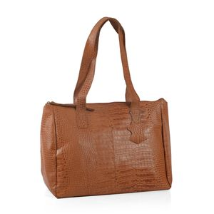 Mother's Day Special Cognac 100% Genuine Leather Croco Embossed RFID Shoulder Bag (13.5x6.25x11 in)