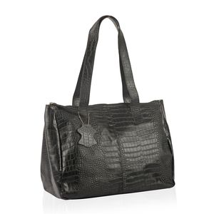 Mother's Day Special Black 100% Genuine Leather Croco Embossed RFID Shoulder Bag (13.5x6.25x11 in)