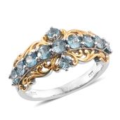 Cambodian Blue Zircon 14K YG and Platinum Over Sterling Silver Ring (Size 5.0) TGW 2.64 cts.