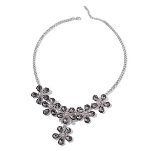 Gray Glass, Austrian Crystal Silvertone Floral Necklace (22-24 in)