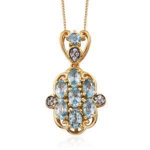 Cambodian Blue Zircon, Cambodian Zircon 14K YG Over Sterling Silver Pendant With Chain (20 in) TGW 3.08 cts.