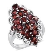 Mozambique Garnet, White Topaz Platinum Over Sterling Silver Cluster Elongated Ring (Size 6.0) TGW 7.43 cts.