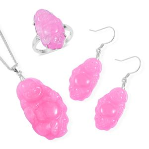 Burmese Pink Jade Carved Buddha Sterling Silver Earrings, Ring (Size 7) and Pendant With Chain (20 in) TGW 49.90 cts.