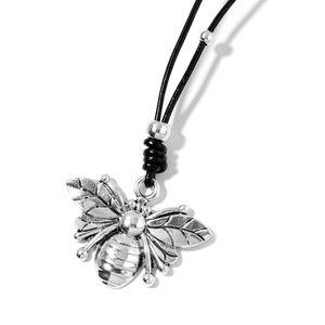 Chroma Silvertone Honeybee Pendant on Black Cord Necklace (32 in)