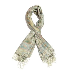 White 100% Silk Jacquard Scarf with Handmade Fringes (28x72 in)