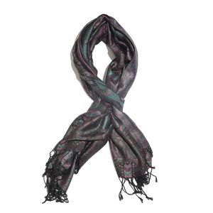 Black, Multi Color 100% Silk Jacquard Scarf with Handmade Fringes (28x72 in)