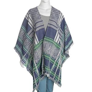 Multi Color Stripe Pattern 50% Cotton & 50% Acrylic Blend Poncho (40x80 in)
