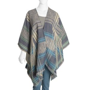 Multi Color 50% Cotton & 50% Acrylic Blend Poncho (40x80 in)