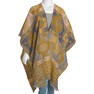 Mustard and Gray 50% Cotton & 50% Acrylic Blend Poncho (40x80 in)