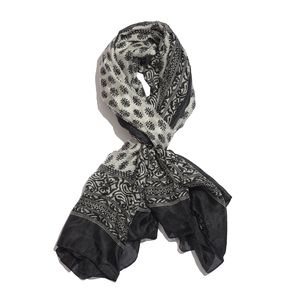 Black and White 100% Natural Mulberry Silk Paisley and Leaves Printed Scarf (78x40 in)