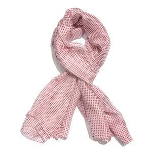 Berry and White 100% Natural Mulberry Silk Polka Dot Printed Scarf (78x40 in)