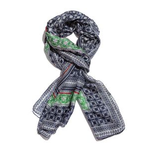 Blue, White and Green Printed 100% Natural Mulberry Silk Scarf (40x72 in)