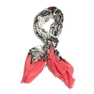 Black Butterfly with Red Border 100% Viscose Scarf (26x72 in)