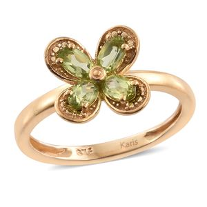 KARIS Collection - Hebei Peridot ION Plated 18K YG Brass Flower Ring (Size 8.0) TGW 1.13 cts.