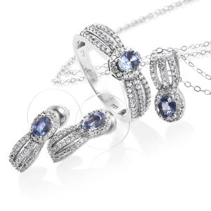 Ceylon Blue Sapphire, Cambodian Zircon Platinum Over Sterling Silver Earrings, Ring (Size 7) and Pendant With Chain (20 in) TGW 2.49 cts.
