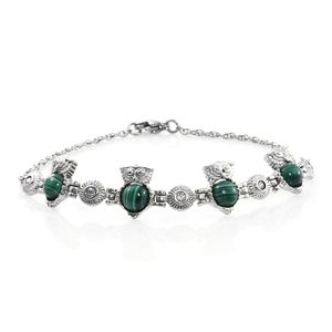 African Malachite, Simulated Diamond Stainless Steel Owl Bracelet (7.50 In) TGW 6.35 cts.