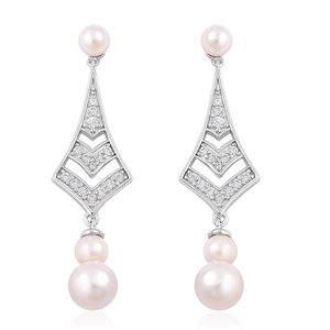 Japanese Akoya Pearl (7-8 mm), White Zircon Sterling Silver Drop Earrings TGW 0.60 cts.