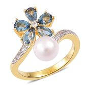 Japanese Akoya Pearl (6-7 mm), London Blue Topaz, White Zircon 14K YG Over Sterling Silver Floral Bypass Ring (Size 6.0) TGW 1.55 cts.