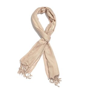 Tan 100% Modal Matty Weave Scarf with Fringes (28x72 in)