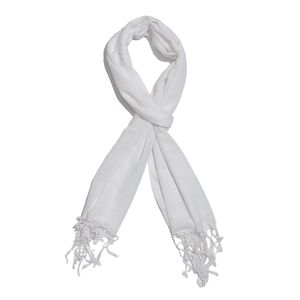 White 100% Modal Matty Weave Scarf with Fringes (28x72 in)
