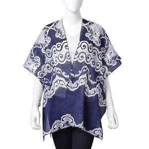 Navy and White 100% Polyester Wavy Lace Pattern Kimono (One Size)