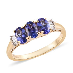 ILIANA 18K YG Premium AAA Tanzanite, Diamond Ring (Size 9.0) TDiaWt 0.05 cts, TGW 1.57 cts.