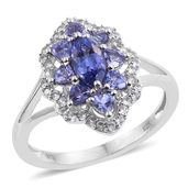 Premium AAA Tanzanite, Cambodian Zircon Platinum Over Sterling Silver Ring (Size 10.0) TGW 2.11 cts.