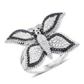 KARIS Collection - Blue Diamond Accent (IR) Black Rhodium and Platinum Bond Brass Butterfly Ring (Size 9.0)