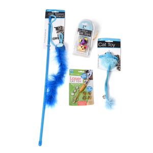Value pack of Cat Toys: Laser Cat Toy, Toy Mouse, Striped Mice Cat Toy Set, Curly Cat Teaser Wand (Blue)