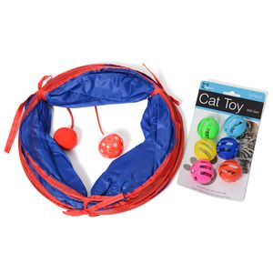 Cat Tunnel with Dangle Toys with a Set of Cat Toys