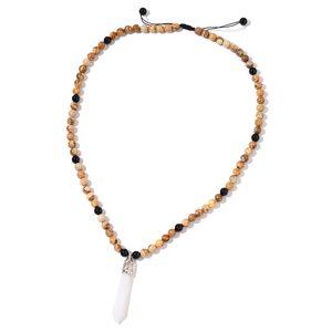 Picture Jasper, Black Agate, White Quartzite Silvertone Necklace (24-30 in) TGW 346.00 cts.