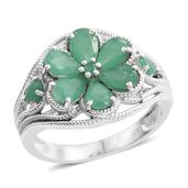 Kagem Zambian Emerald Platinum Over Sterling Silver Floral Ring (Size 7.0) TGW 2.58 cts.
