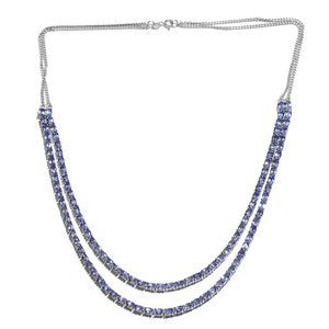 Premium AAA Tanzanite Platinum Over Sterling Silver Double Studded Tennis Necklace (18 in) TGW 25.02 cts.