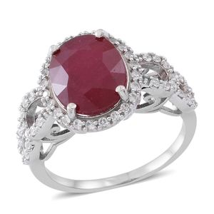 Web Exclusive Doorbuster Niassa Ruby, Cambodian White Zircon Sterling Silver Ring (Size 7.0) TGW 7.54 cts.