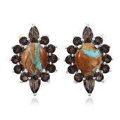 Royston Turquoise, Brazilian Smoky Quartz Platinum Over Sterling Silver Earrings TGW 5.30 cts.