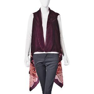 Burgundy Floral Pattern 100% Polyester Sheer Kimono (One Size)