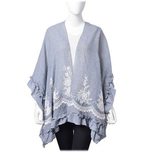 Gray 30% Cotton & 70% Polyester Floral Embroidered Ruffled Kimono (One Size)