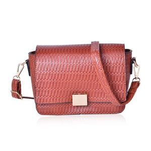 Cognac Embossed Faux Leather Flap Over Crossbody Bag (10x8x6 in)