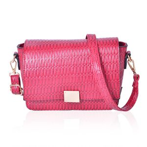Red Faux Leather Crossbody Bag (10x8x6 in) with Adjustable Shoulder Strap