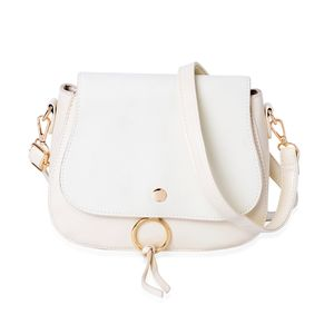 Cream Faux Leather Foldover Crossbody Saddle Bag with Standing Stud and Removable Shoulder Strap (9x3x7.5 in)