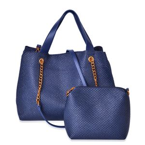 Navy Weave Faux Leather Pattern Hobo Bag (16x5.5x10 in) with Matching Pouch (9.5x3x6 in) and Removable Strap