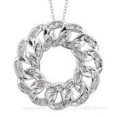 Diamond Platinum Over Sterling Silver Curb Pendant With Chain (20 in) TDiaWt 0.75 cts, TGW 0.75 cts.
