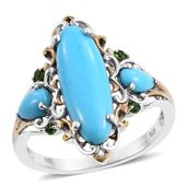 Arizona Sleeping Beauty Turquoise, Russian Diopside 14K YG and Platinum Over Sterling Silver Ring (Size 11.0) TGW 4.46 cts.