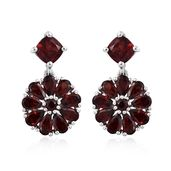 Mozambique Garnet Platinum Over Sterling Silver Floral Drop Earrings TGW 7.89 cts.