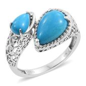Arizona Sleeping Beauty Turquoise Platinum Over Sterling Silver Openwork Bypass Ring (Size 9.0) TGW 3.38 cts.