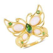 Russian Diopside, Australian White Opal 14K YG Over Sterling Silver Butterfly Ring (Size 7.0) TGW 2.04 cts.