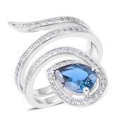 London Blue Topaz, White Zircon Sterling Silver Ring (Size 7.0) TGW 2.90 cts.