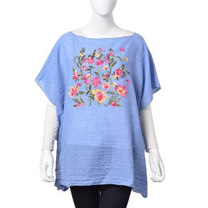 Denim 30% Cotton and 70% Polyester Floral Embroidered Poncho (One Size)