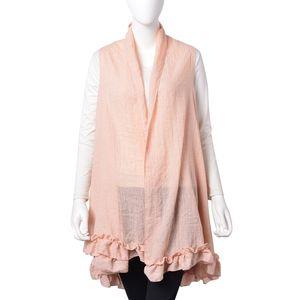 Peach 30% Cotton and 70% Polyester Half-moon Shape Kimono with Falbala Edge (74.81x45.28 in)